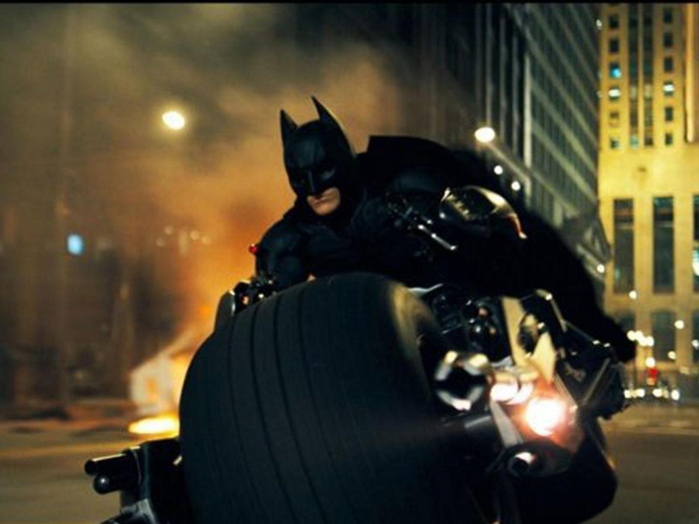 "Christian Bale as Batman in a scene from ""The Dark Knight."""