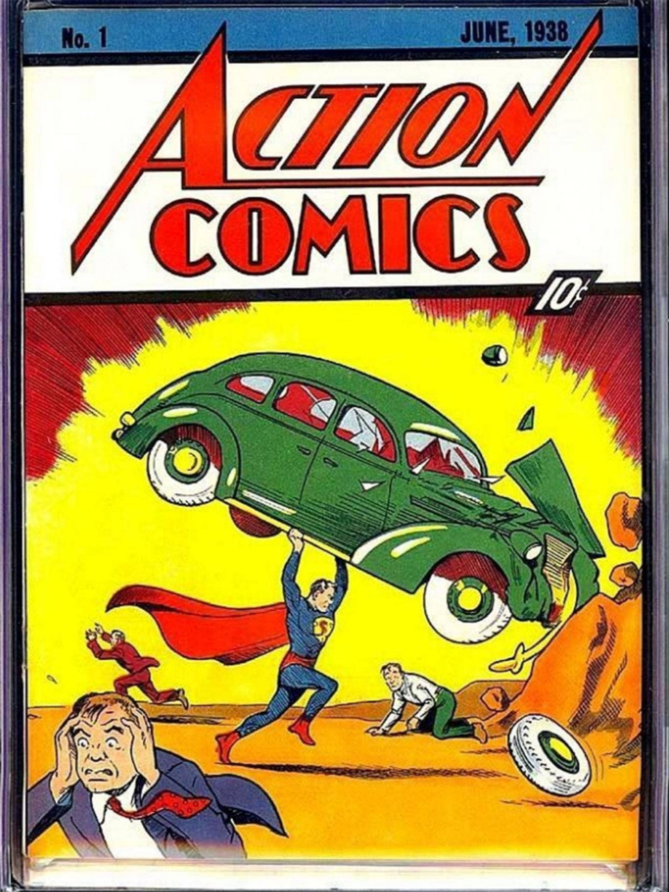 The cover of the comic which introduced the world to Superman