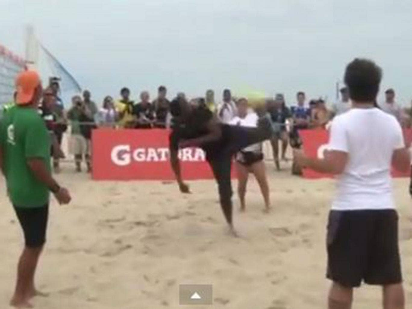 Usain Bolt shows off his skills during FootVolley game on Rio de Janeiro beach