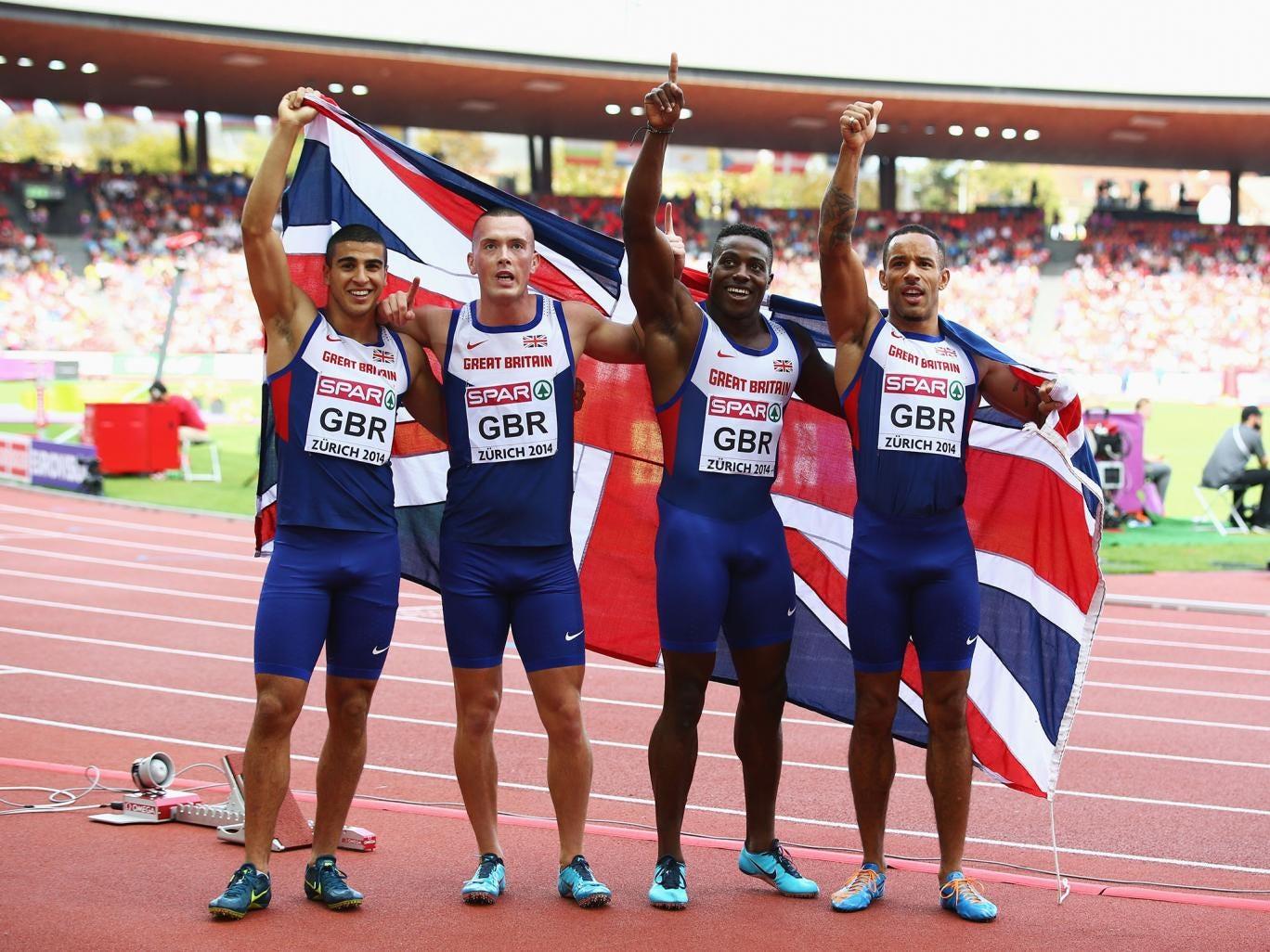 Britain's 4x100m  European gold medallists (left to right) Adam Gemili, Richard Kilty, Harry Aikines-Aryeetey and James Ellington celebrate in Zurich on Sunday