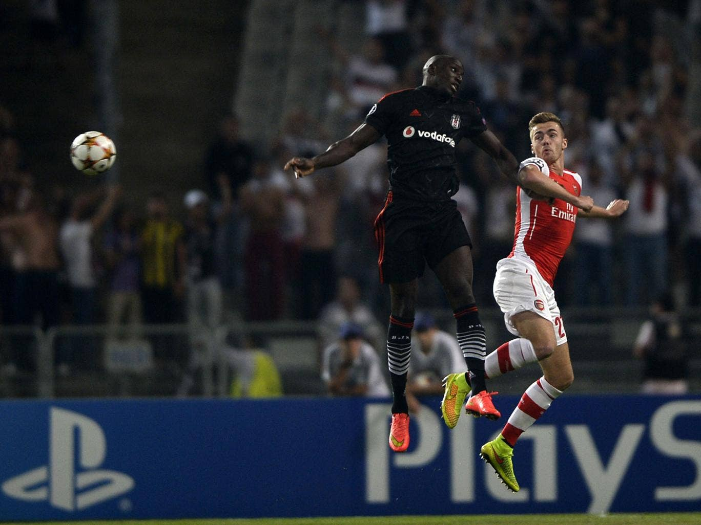 Calum Chambers challenges Demba Ba for the ball