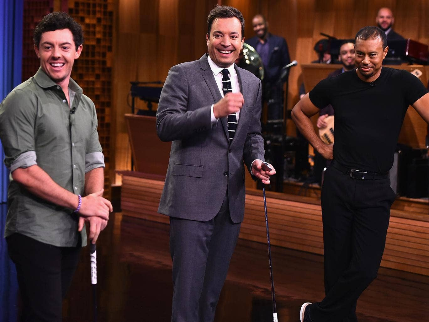Rory McIlroy alongside Jimmy Fallon and Tiger Woods