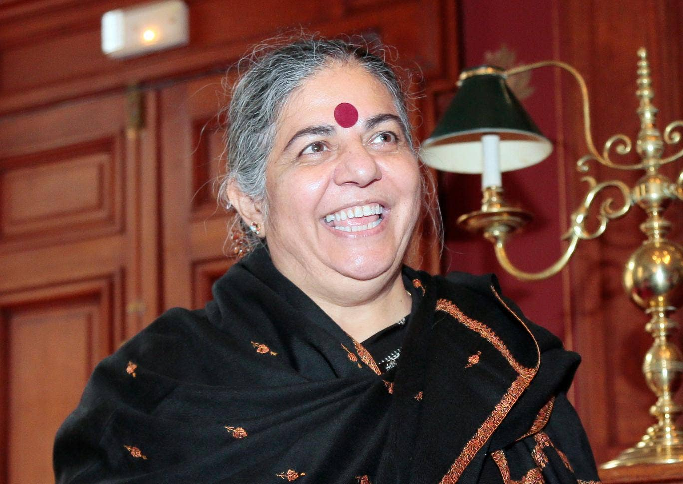 India's philosopher, environmental activist, author and eco feminist Vandana Shiva arrives to give a press conference focused on genetically modified seeds on October 10, 2012