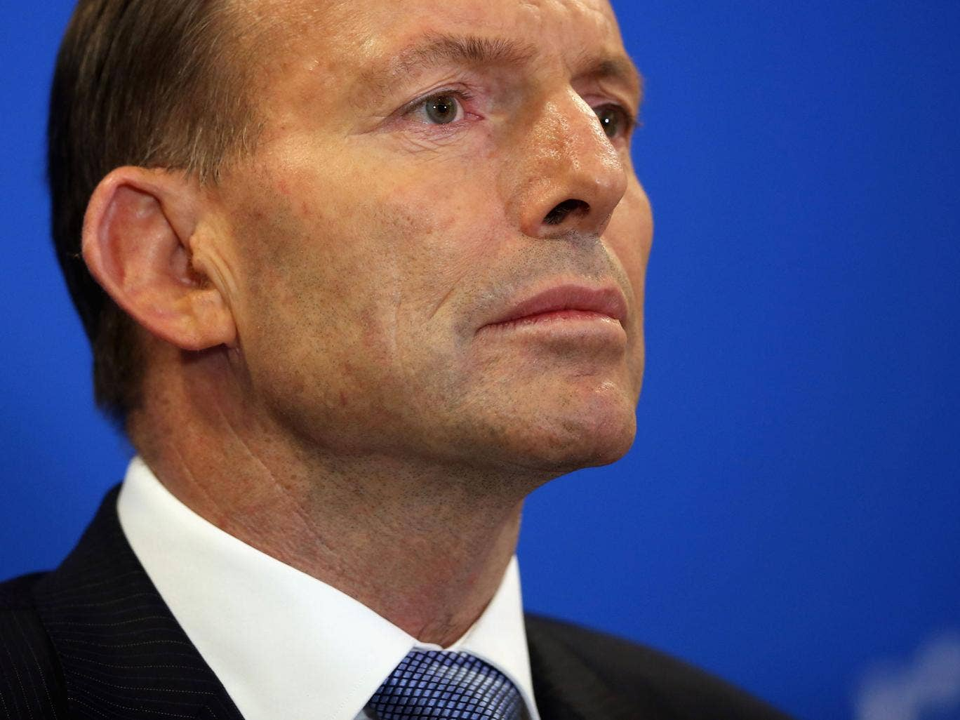Australian Prime Minister Tony Abbott speaks at a press conference on August 12, 2014 in London, England.
