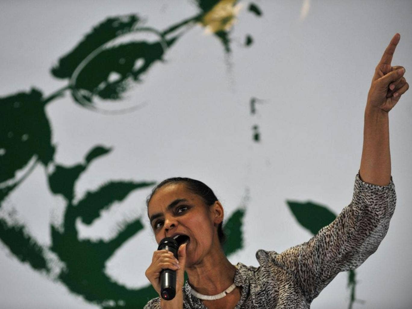 Marina Silva served as Environment Minister under the previous administration and is known for her religious and environmental beliefs. She is polling in second place for the October election