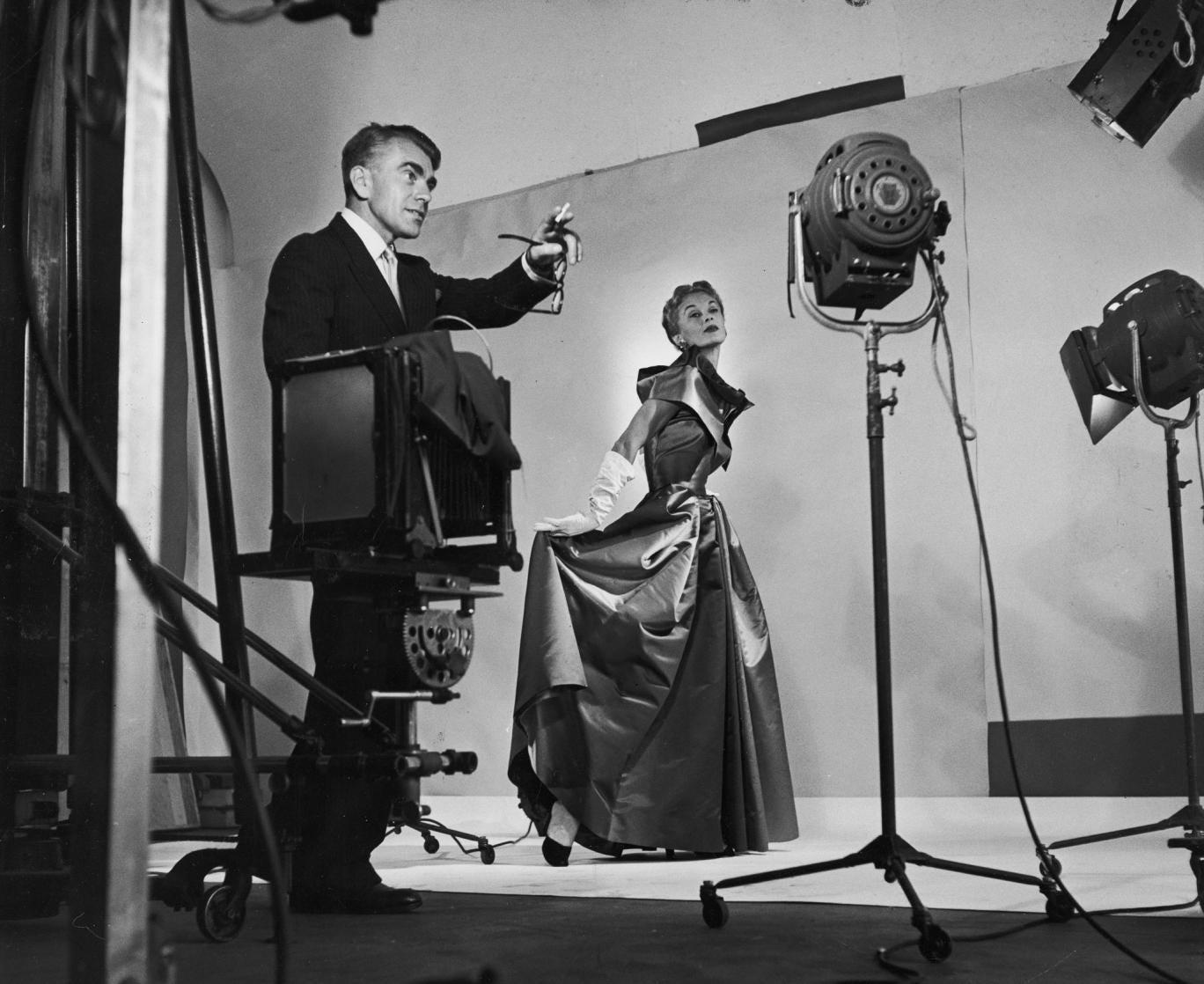 Horst P Horst mid-fashion shoot in New York, 1949