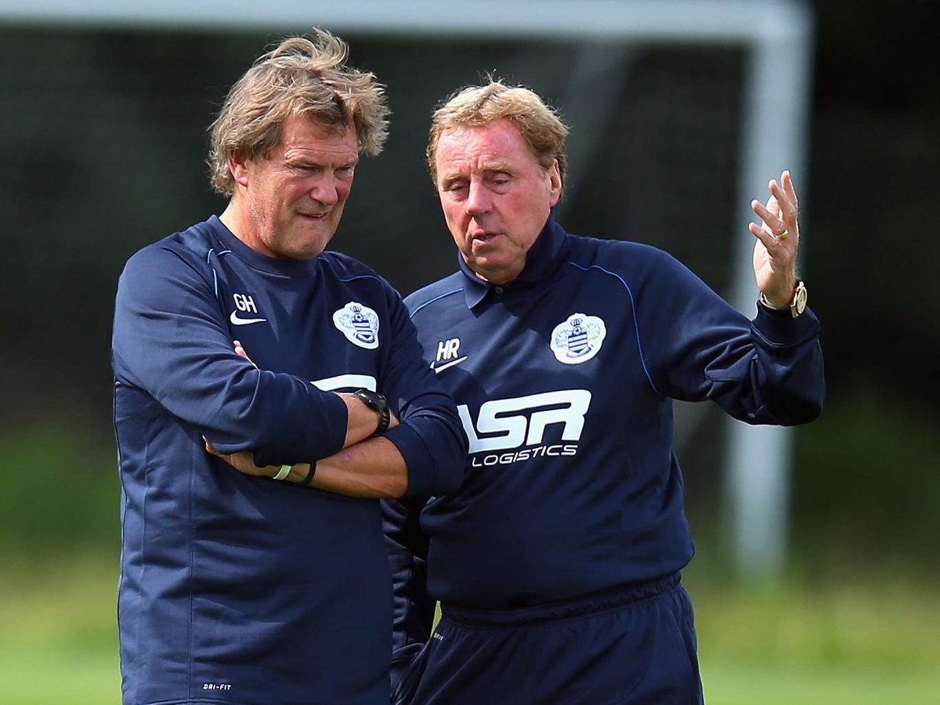 Brains trust: Glenn Hoddle (left) discusses tactics with Harry Redknapp