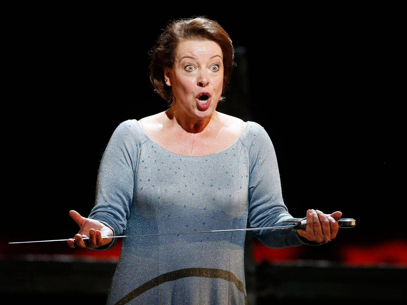 Nina Stemme performs as Isolde in a dress rehearsal in June, 2013, for a production of Richard Wagner´s Tristan and Isolde at the State Opera in Vienna