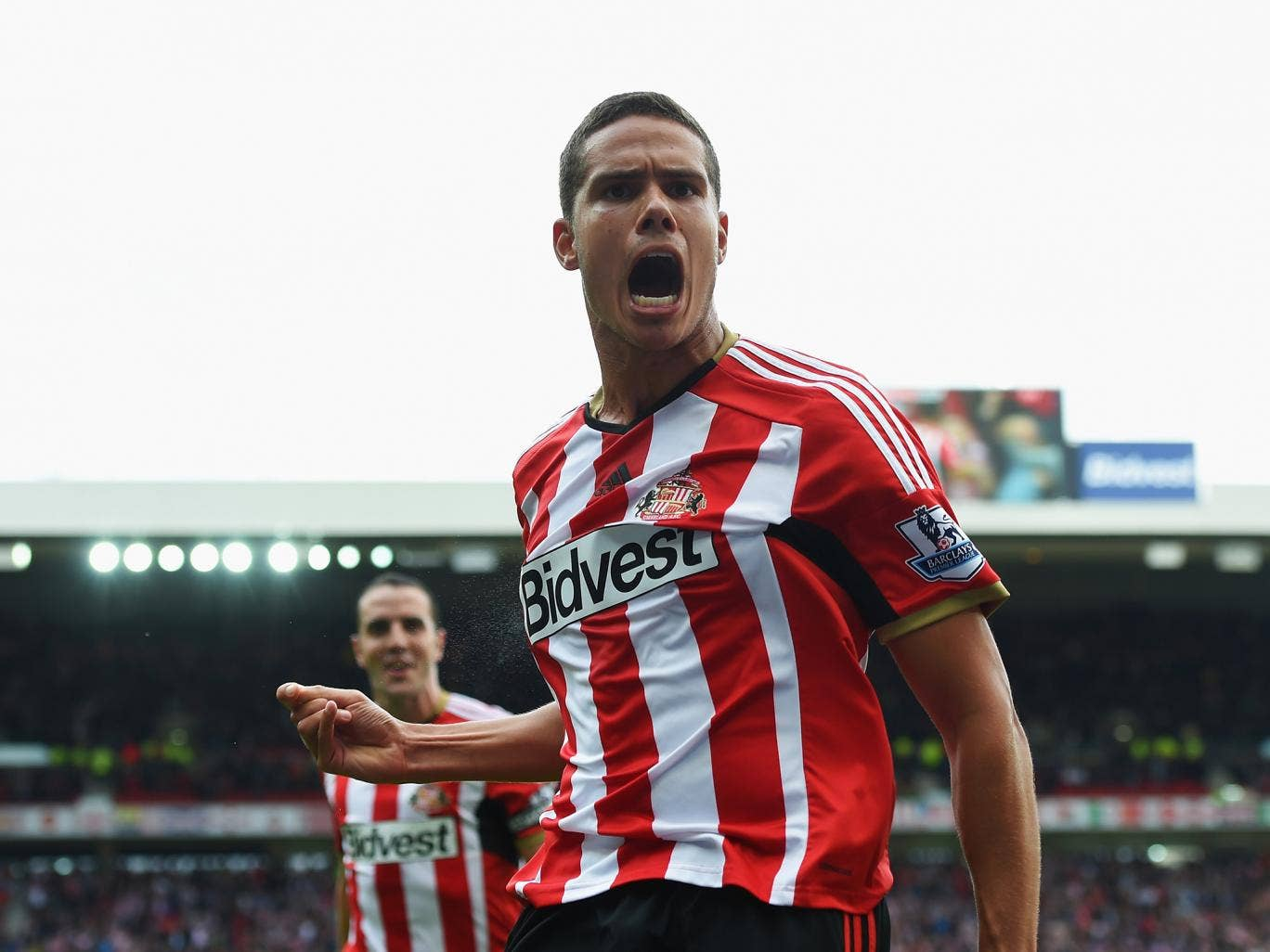 Jack Rodwell of Sunderland celebrates scoring his goal during the Premier League match between Sunderland and Manchester United