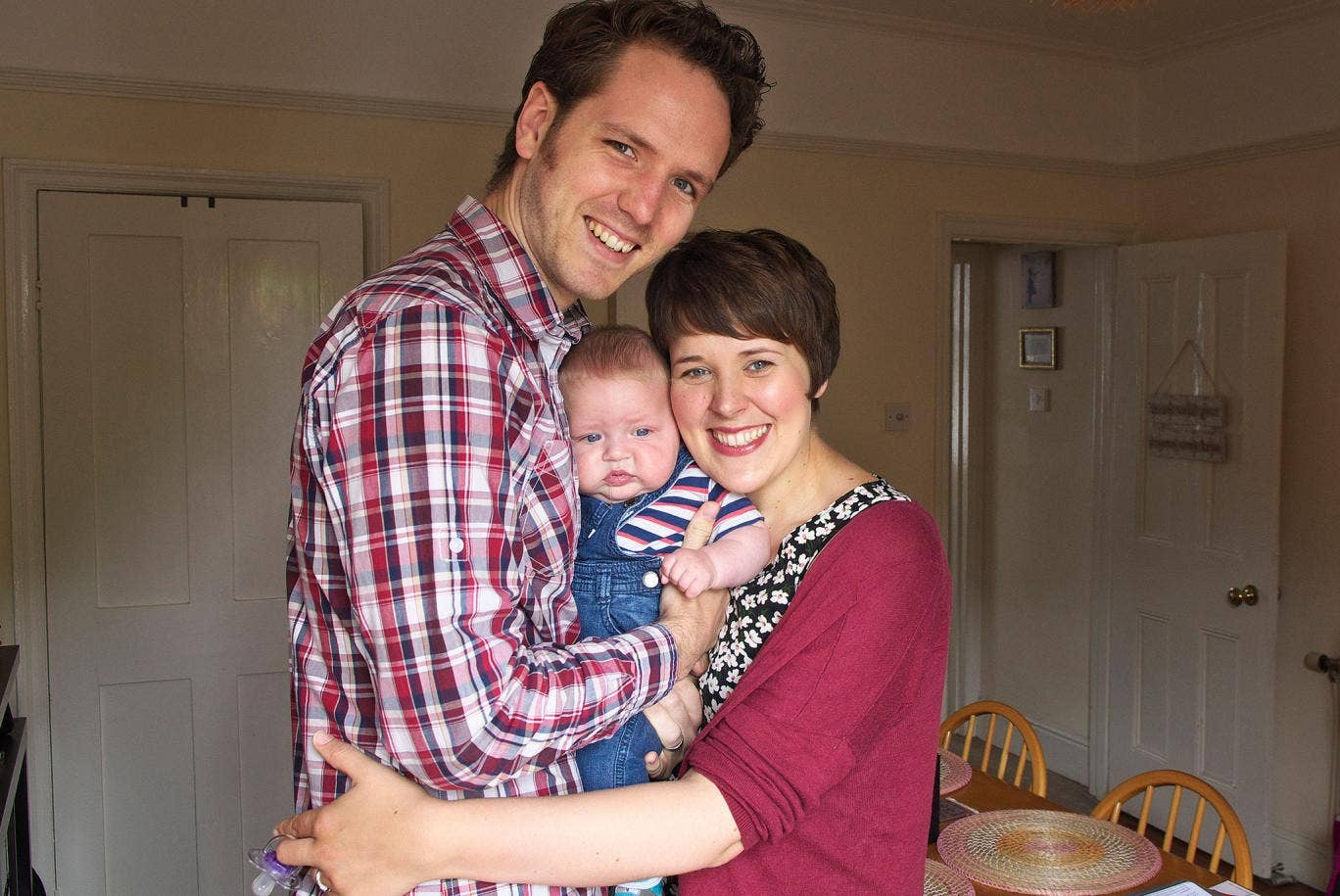 Jessica Pidsley, Matthew Bannister and their son Albert Bannister at their home in Norwich. Jessica Pidsley suffered severe postnatal psychosis shortly after the birth of her son and had to be hospitalised