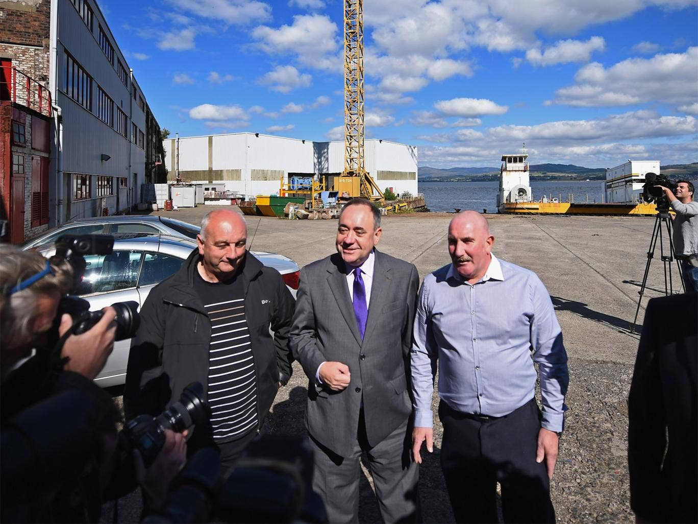 Alex Salmond at Ferguson Shipbuilders with union and yard officials