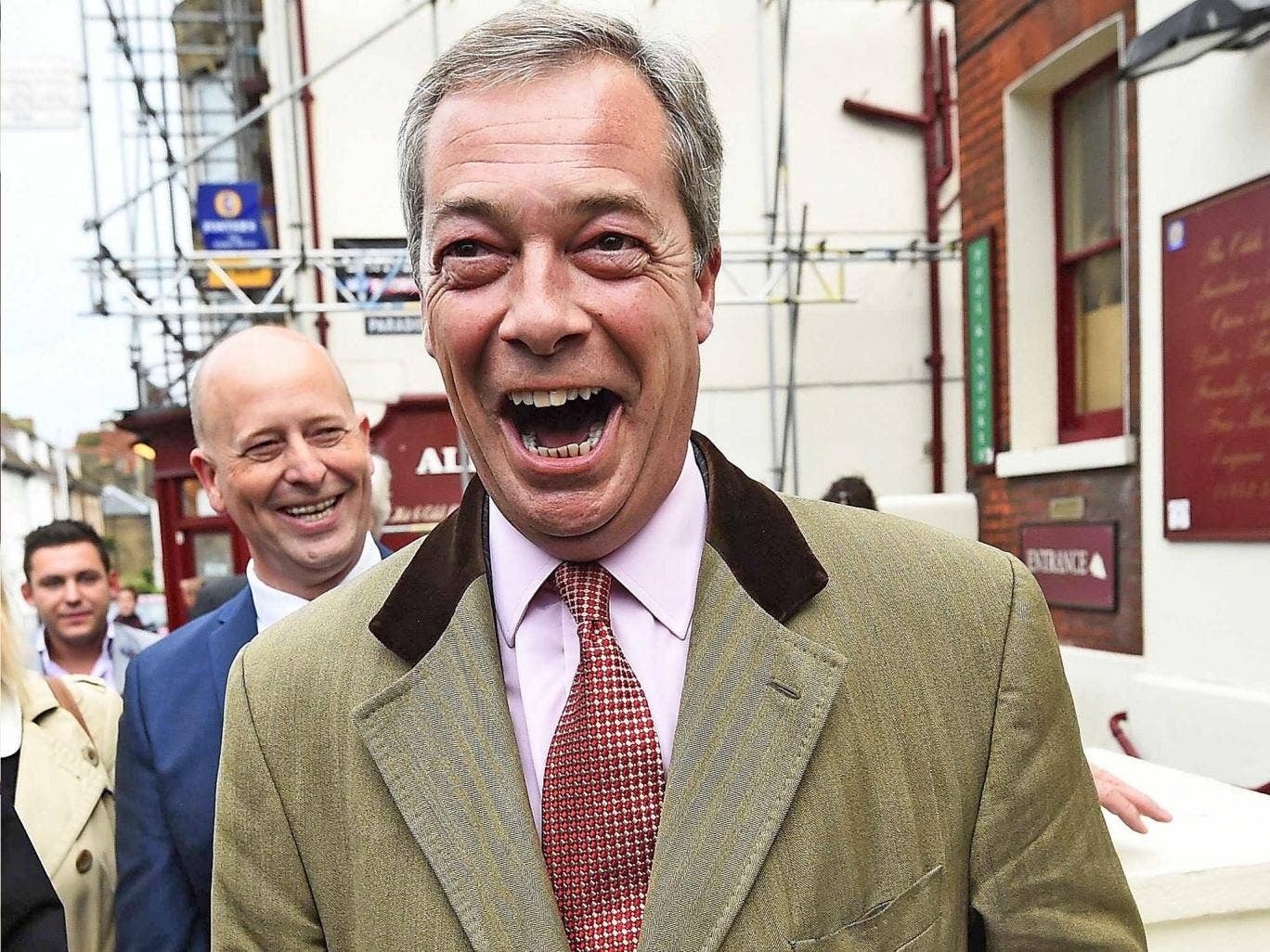 Nigel Farage arrives for a hustings event at The Oddfellows Hall in Ramsgate on Tuesday