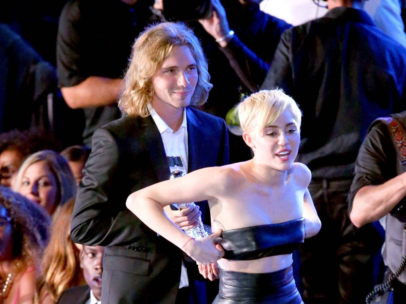 Jesse Helt with Miley Cyrus at the MTV Video Music Awards
