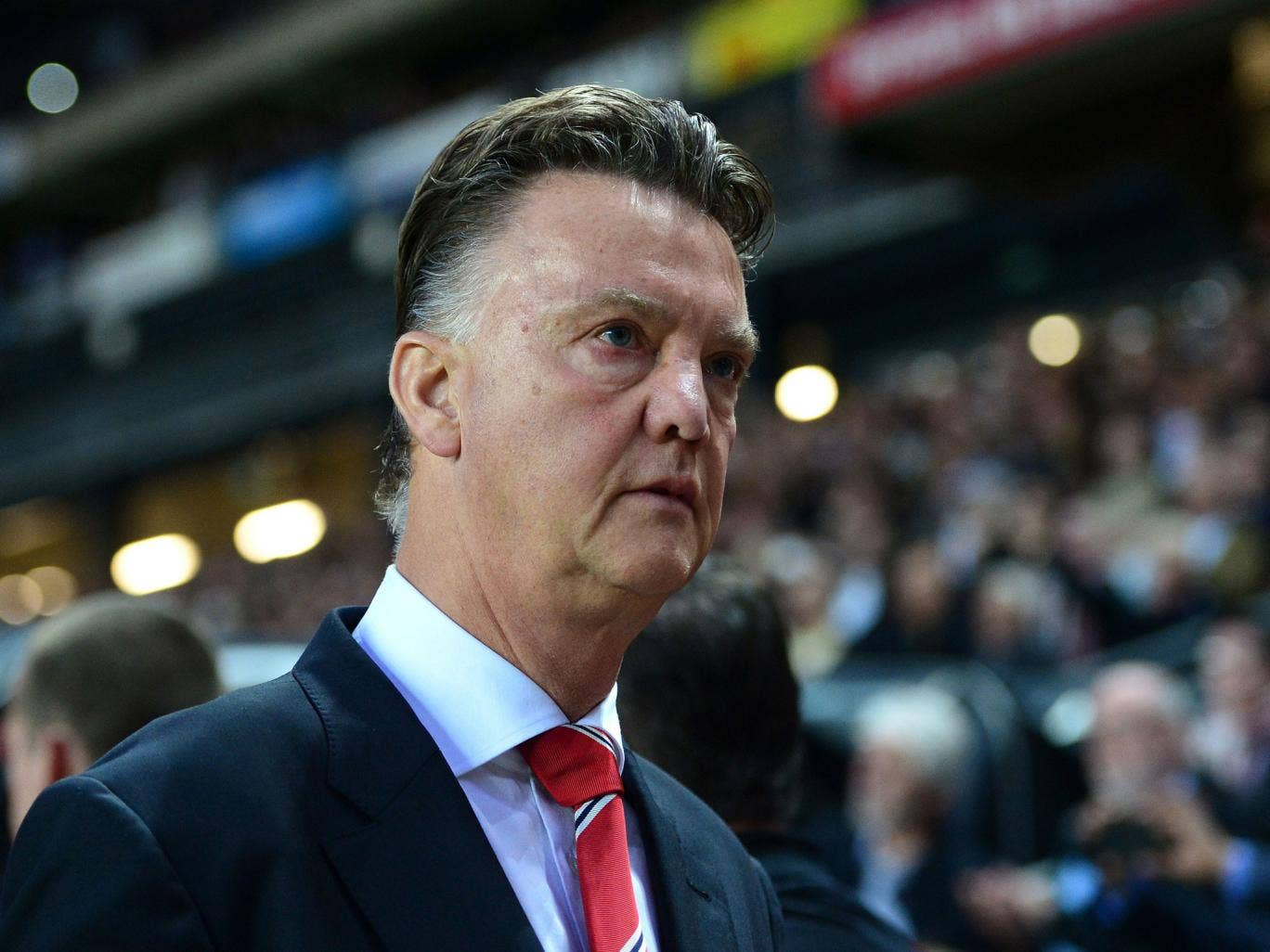 Louis van Gaal looks dejected after Manchester United's 4-0 defeat by MK Dons on Tuesday night
