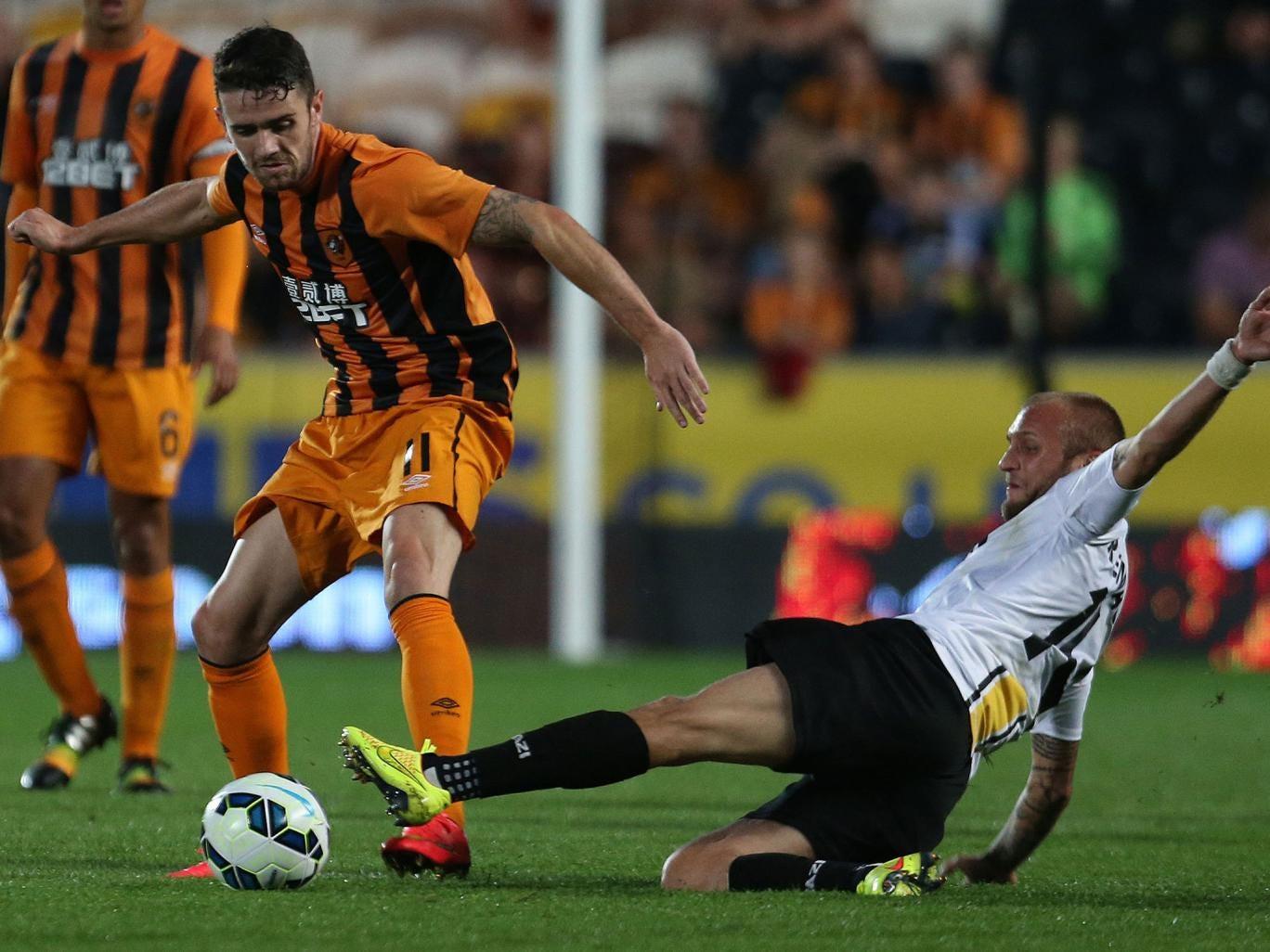 Robbie Brady scored twice for Hull in their Europa League tie