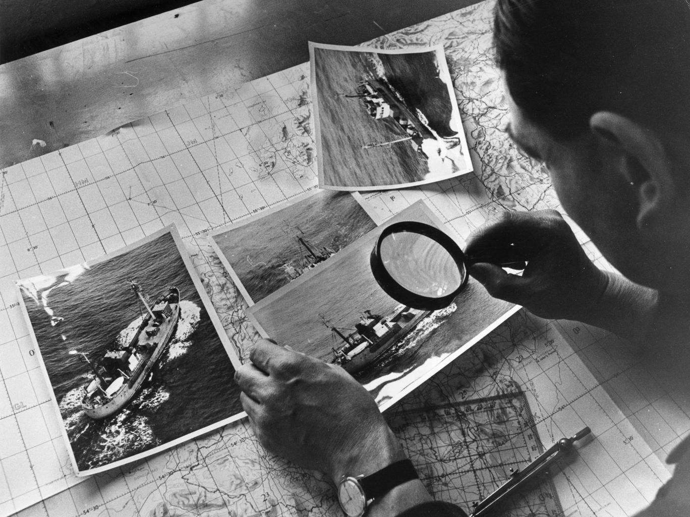 RAF photos of a Soviet spy trawler in 1968: there are now concerns that national hostilities have moved into the digital age