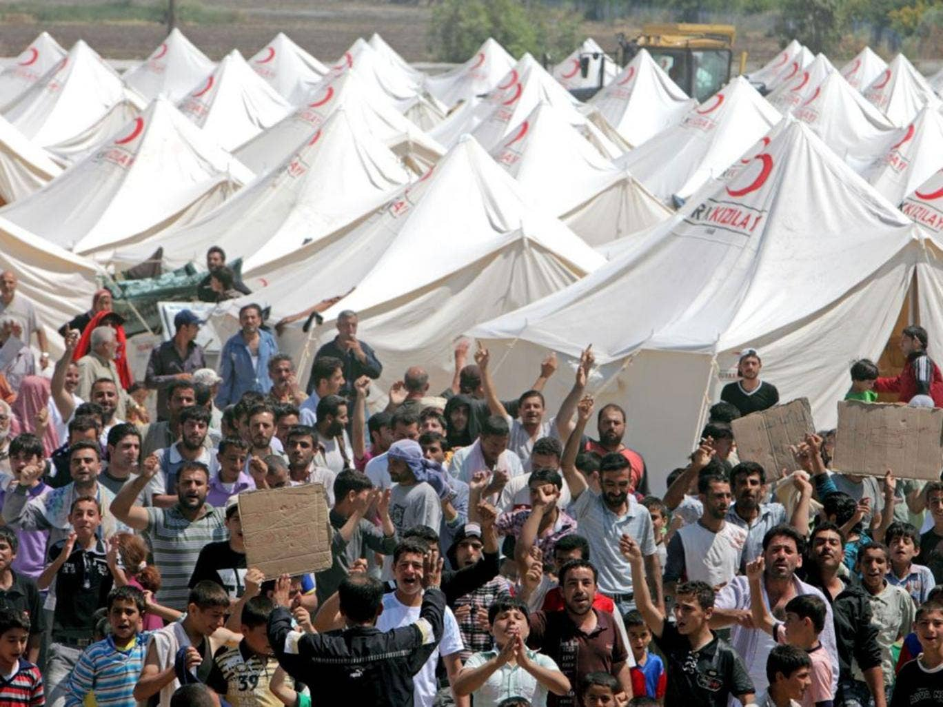 Syrian refugees in a Red Crescent camp in Boynuyogun village in Hatay, Turkey. Police say a 15-year-old girl who has gone missing from Bristol could be travelling towards Syria