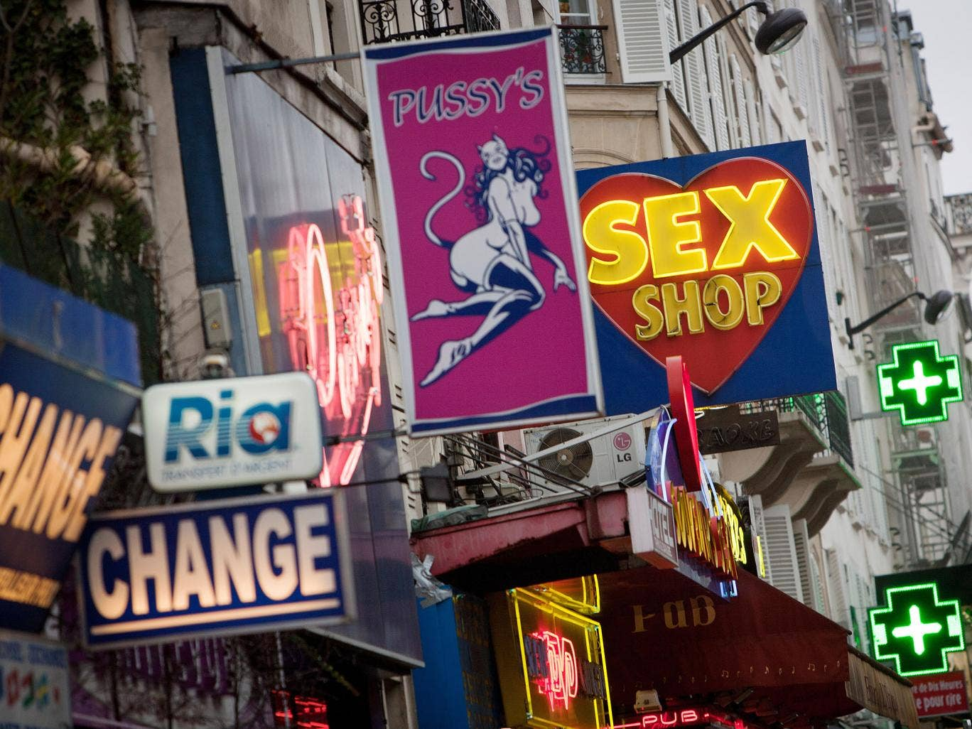 A picture taken on January 12, 2011 shows sex shops at the Paris district of Pigalle.
