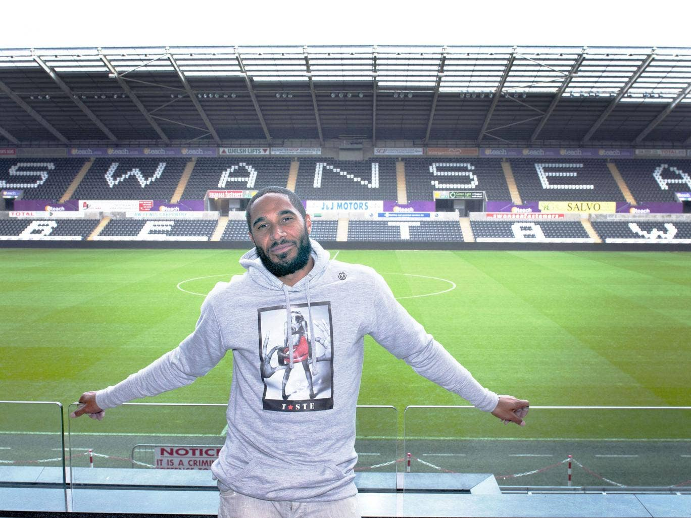 The Swansea City captain, Ashley Williams, at the Liberty Stadium this week