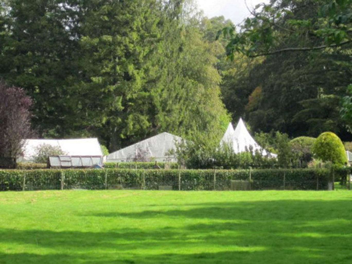 The marquee of the wedding celebration on the grounds of Larch Cottage in Ecclerigg, where the incident occurred