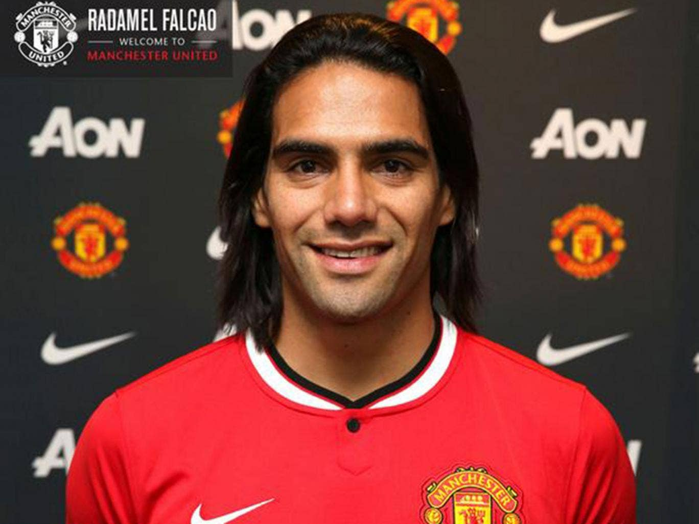 Radamel Falcao is presented as a Manchester United player