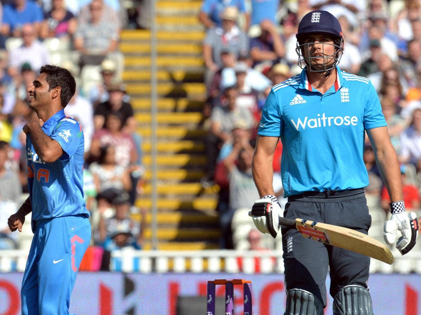 England's Alastair Cook is dismissed by India's Bhuvneshwar Kumar