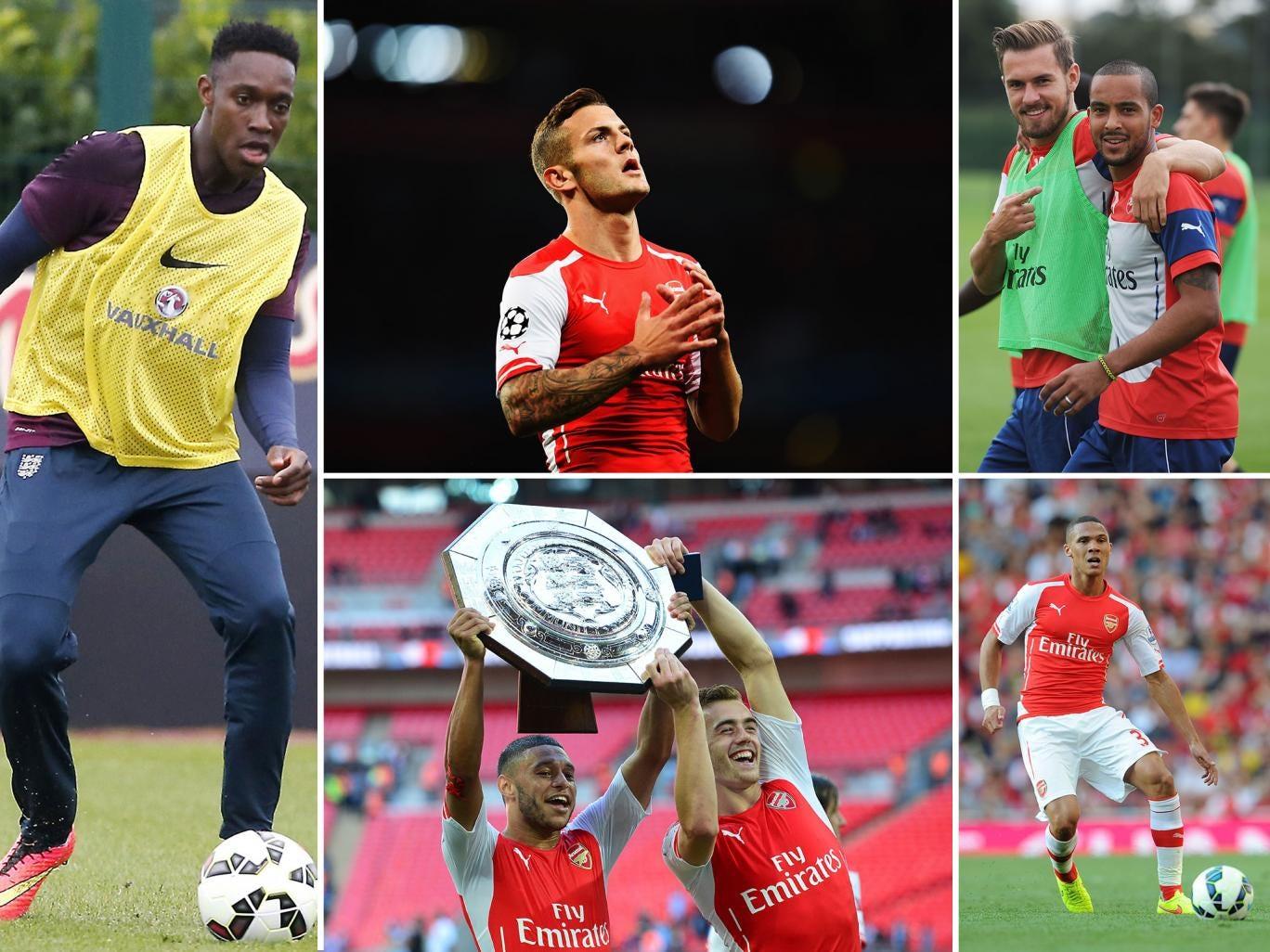 Arsenal stars Danny Welbeck, Jack Wilshere, Aaron Ramsey, Theo Walcott, Kieran Gibbs, Calum Chambers and Alex Oxlade-Chamberlain