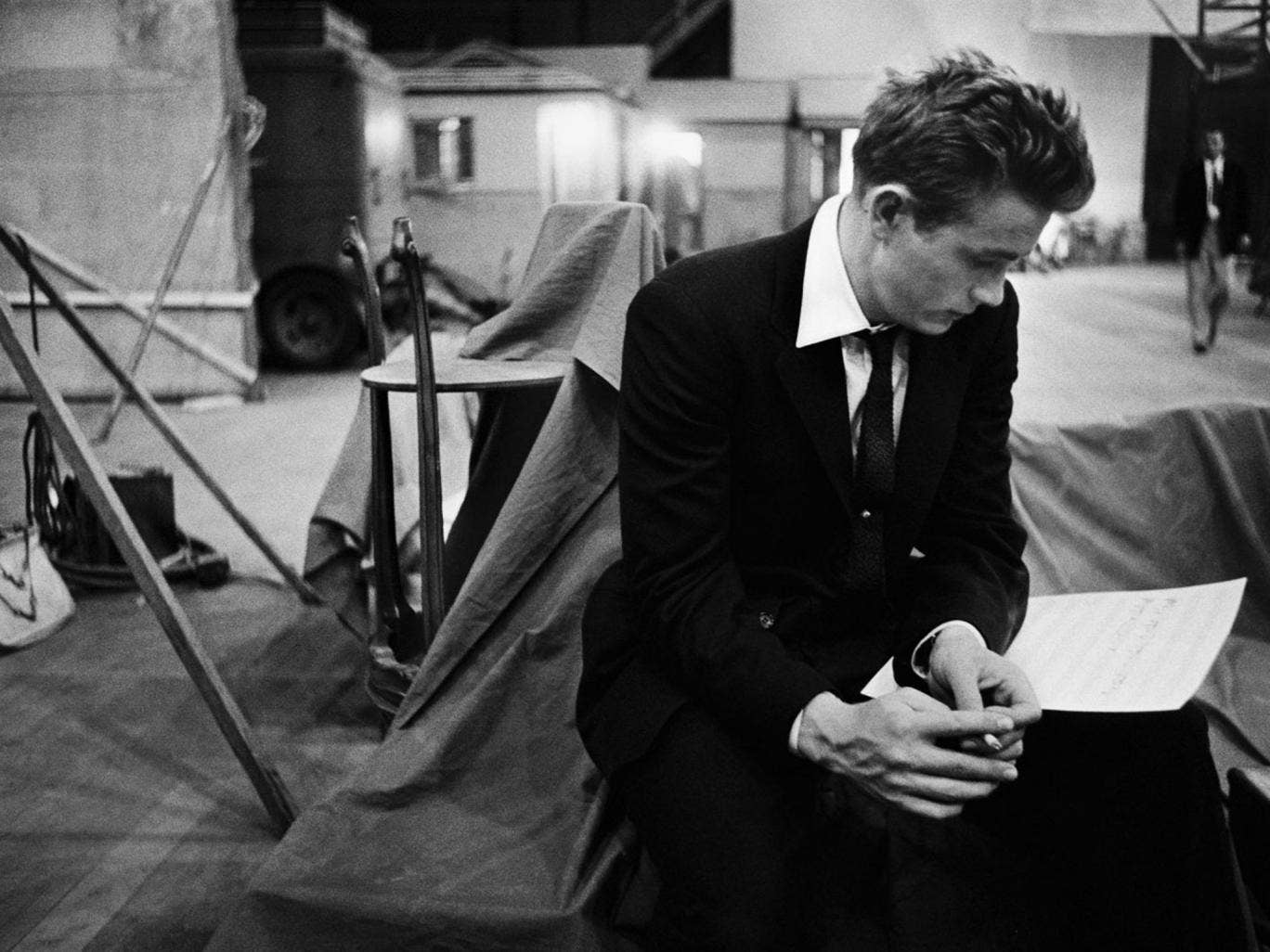 James Dean on the set of 'Rebel without a Cause', 1955