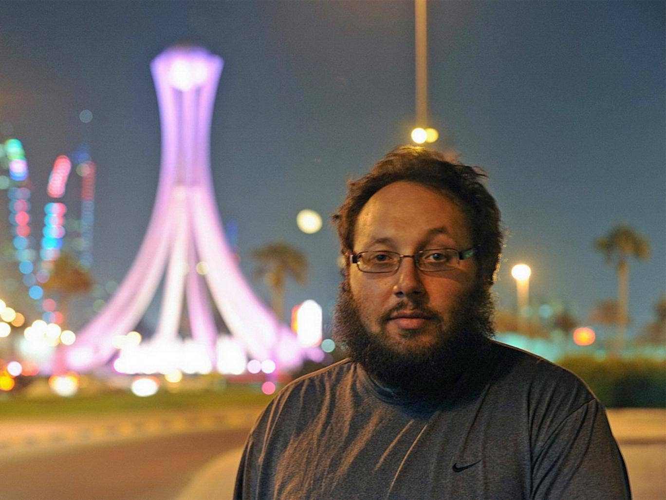 Steven Sotloff pictured in 2010 near Lulu Roundabout in Manama, which later became the iconic center for the 2011 pro-reform protests in Bahrain