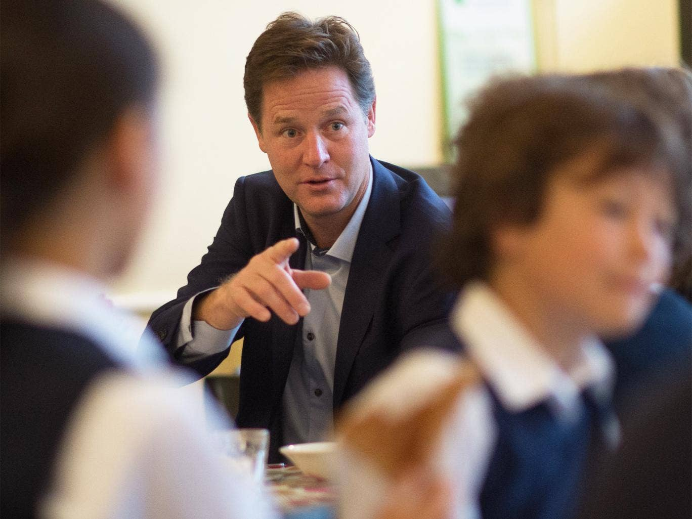Deputy Prime Minister Nick Clegg meets pupils at Clapham Manor Primary School in south west London, on Tuesday