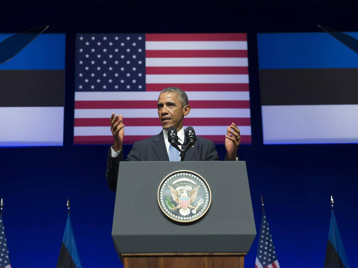 US President Barack Obama delivers a speech at Nordea Concert Hall in Tallinn, Estonia