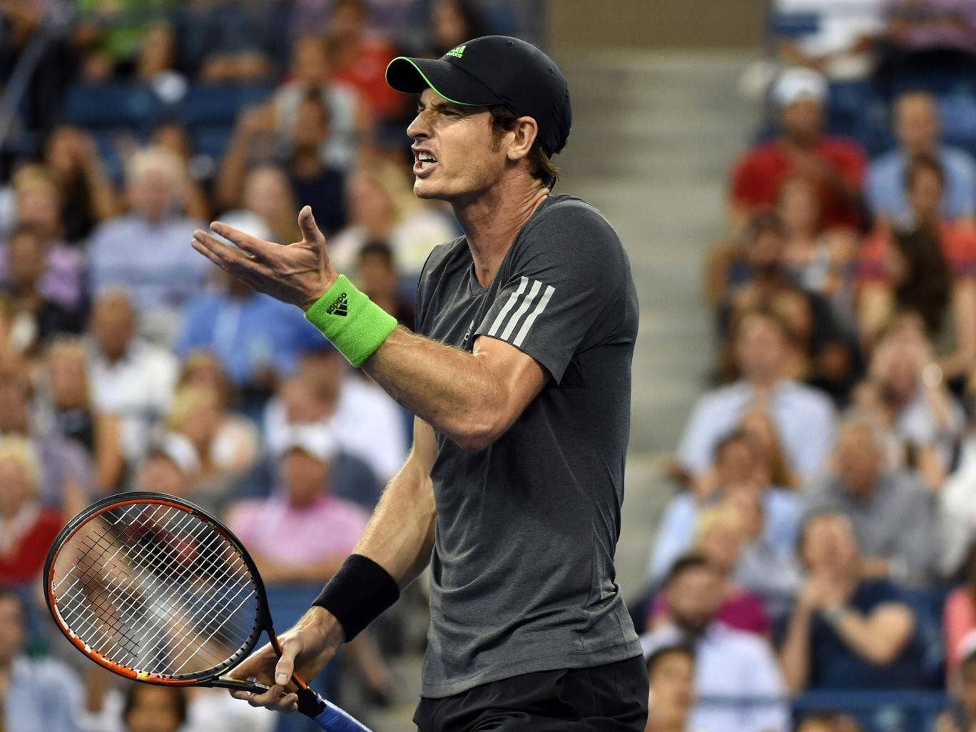 Andy Murray reacts to a decision against Novak Djokovic