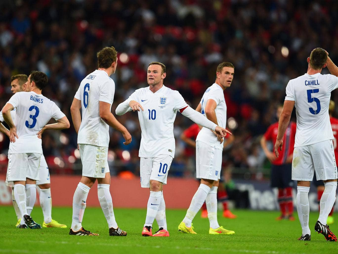 Wayne Rooney gives the orders during England's 1-0 win over Norway