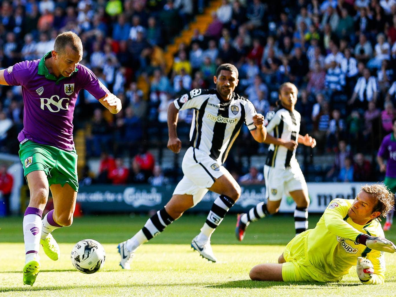 Bristol City's Aaron Wilbraham bears down on the Notts County goal last week