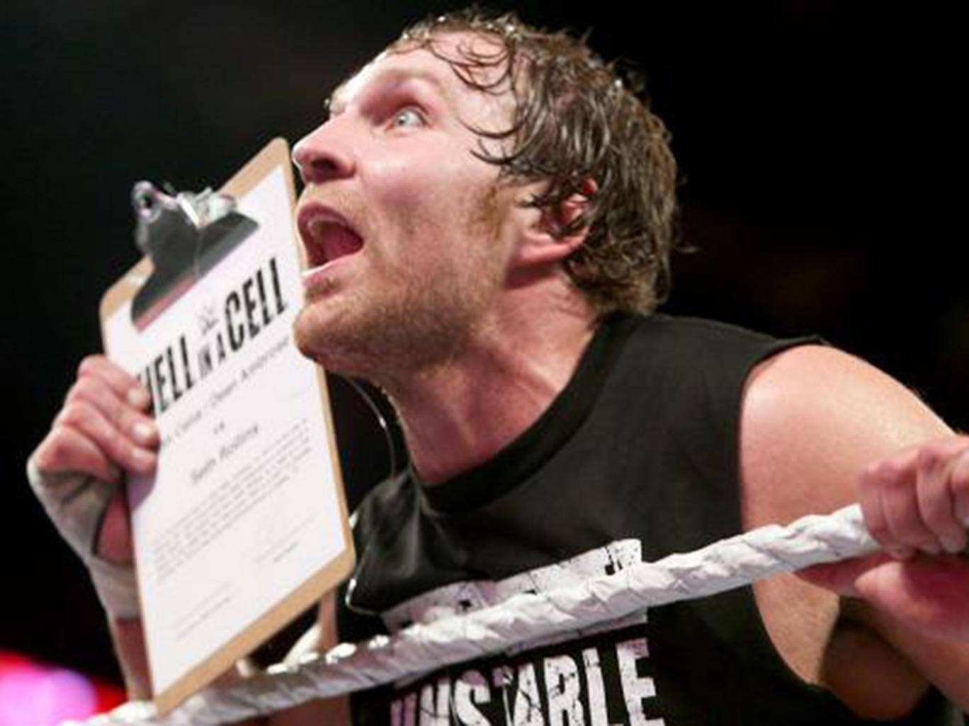 Dean Ambrose grabs the contract to face Seth Rollins at Hell in a Cell - Ambrose