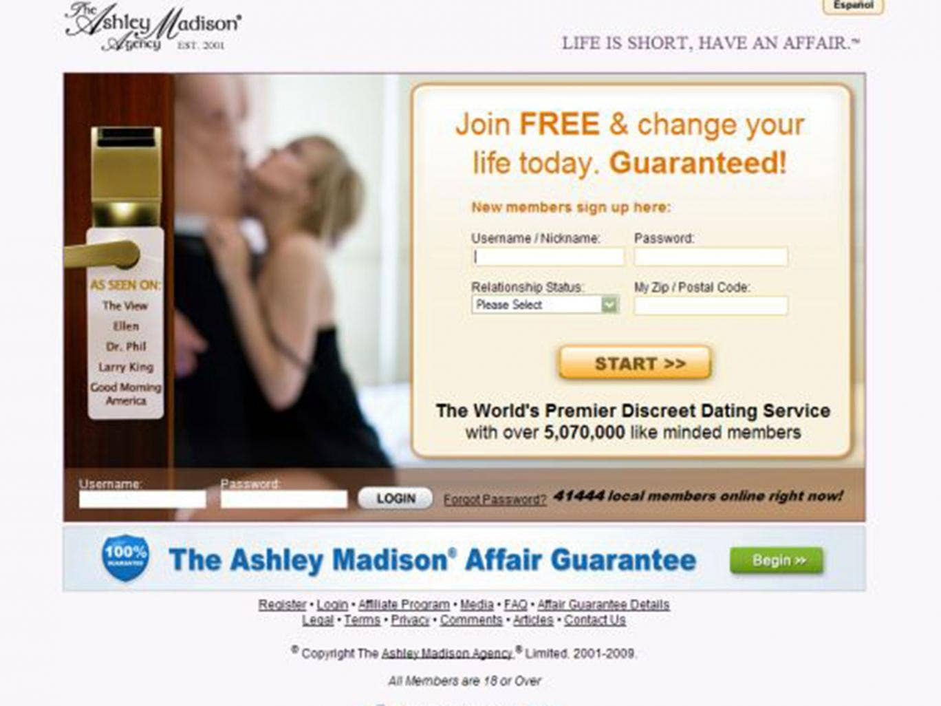 ashley madison web page