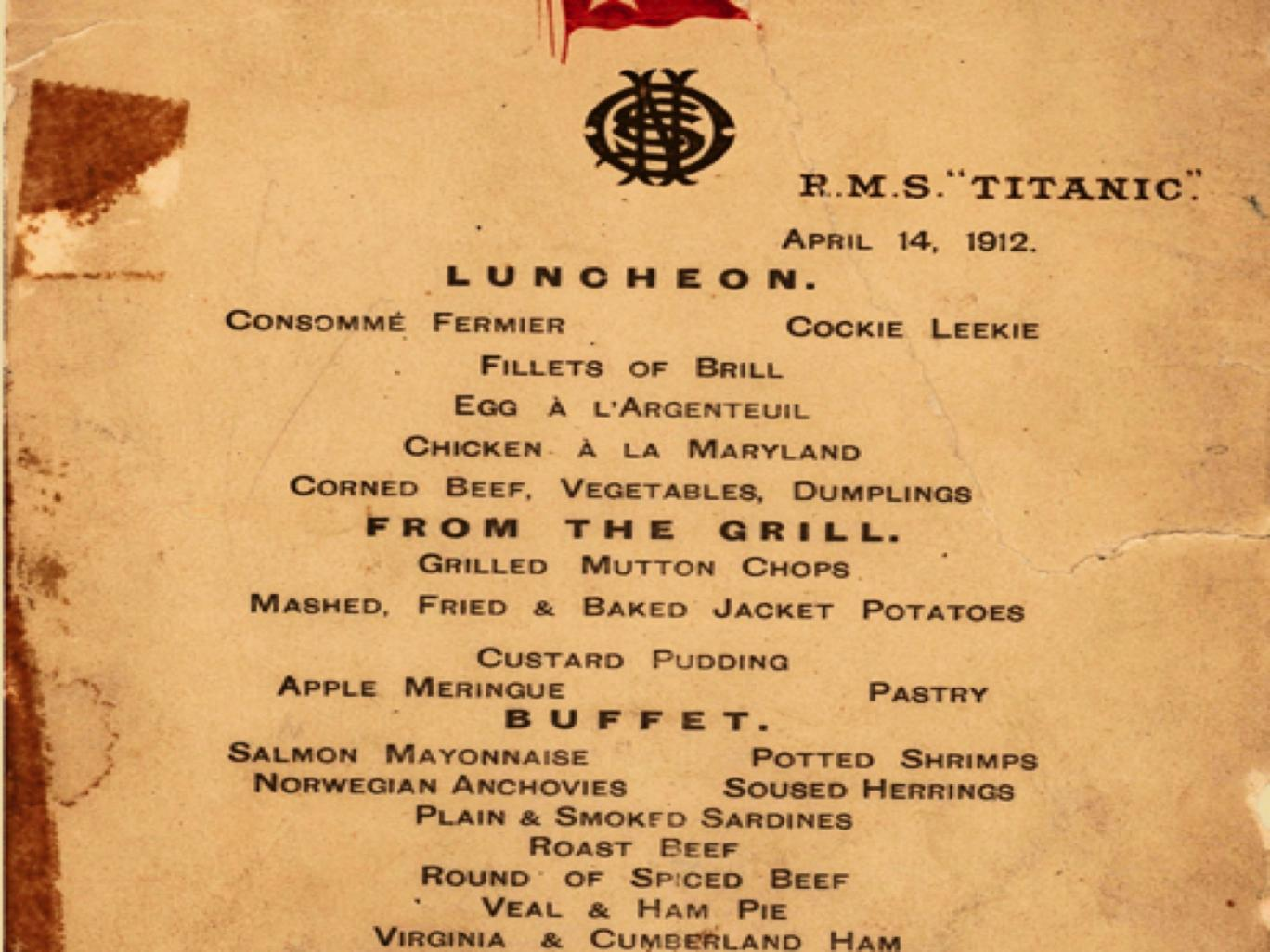Menu From Last Luncheon On The Titanic Is To Be Sold At