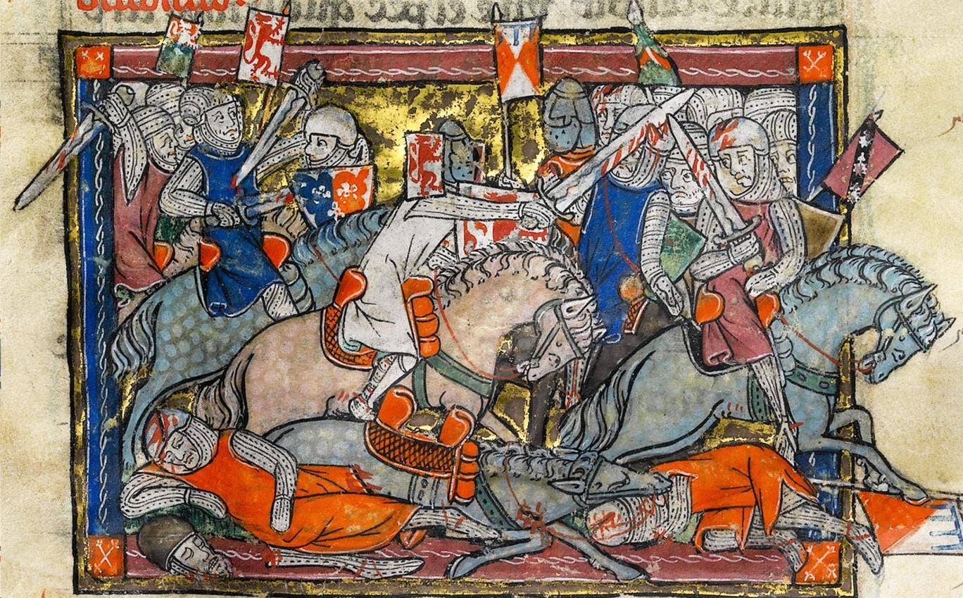 An illustration of King Arthur fighting the Saxons in the Rochefoucauld Grail manuscript