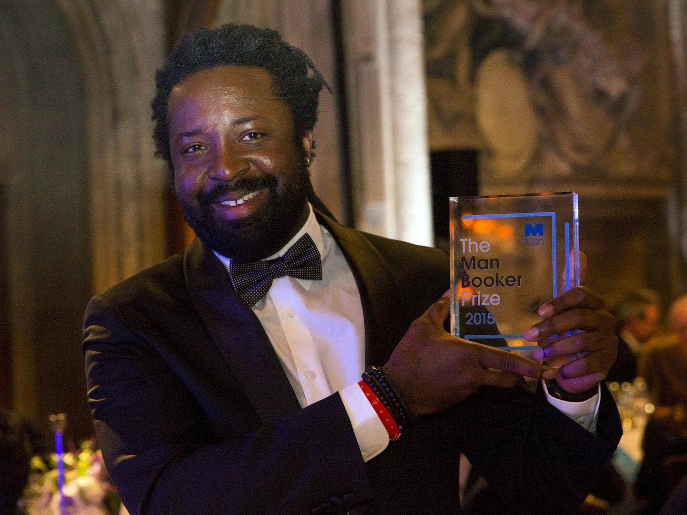 Award at the ceremony for the man booker prize for fiction 2015 at the