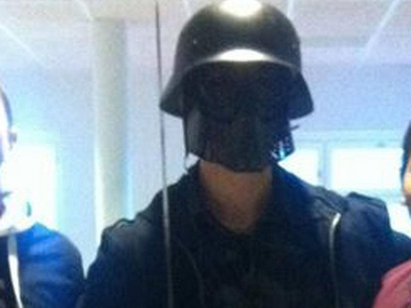 The killer wore a Darth Vader mask and carried a sword
