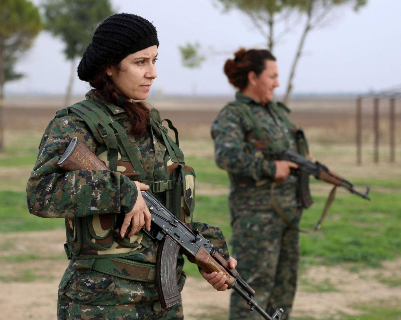 Syriac Christian women, members of the battalion called the 'Female Protection Forces of the Land Between the Two Rivers' fighting the Islamic State group
