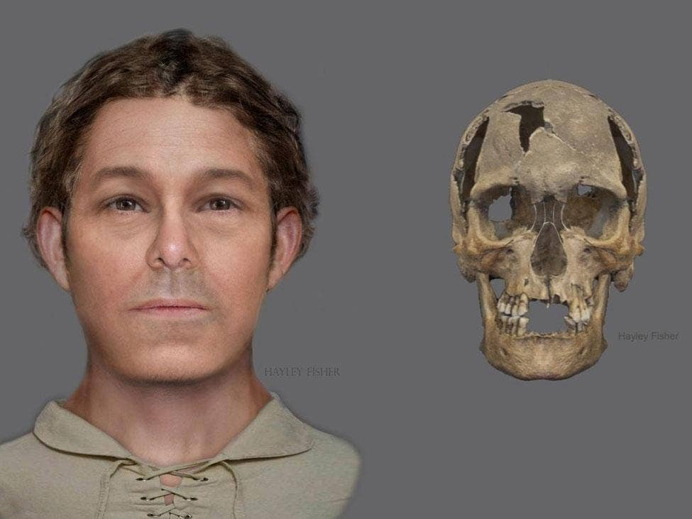 A reconstructed image of what the man could have looked like (left) and a digital image of the skull
