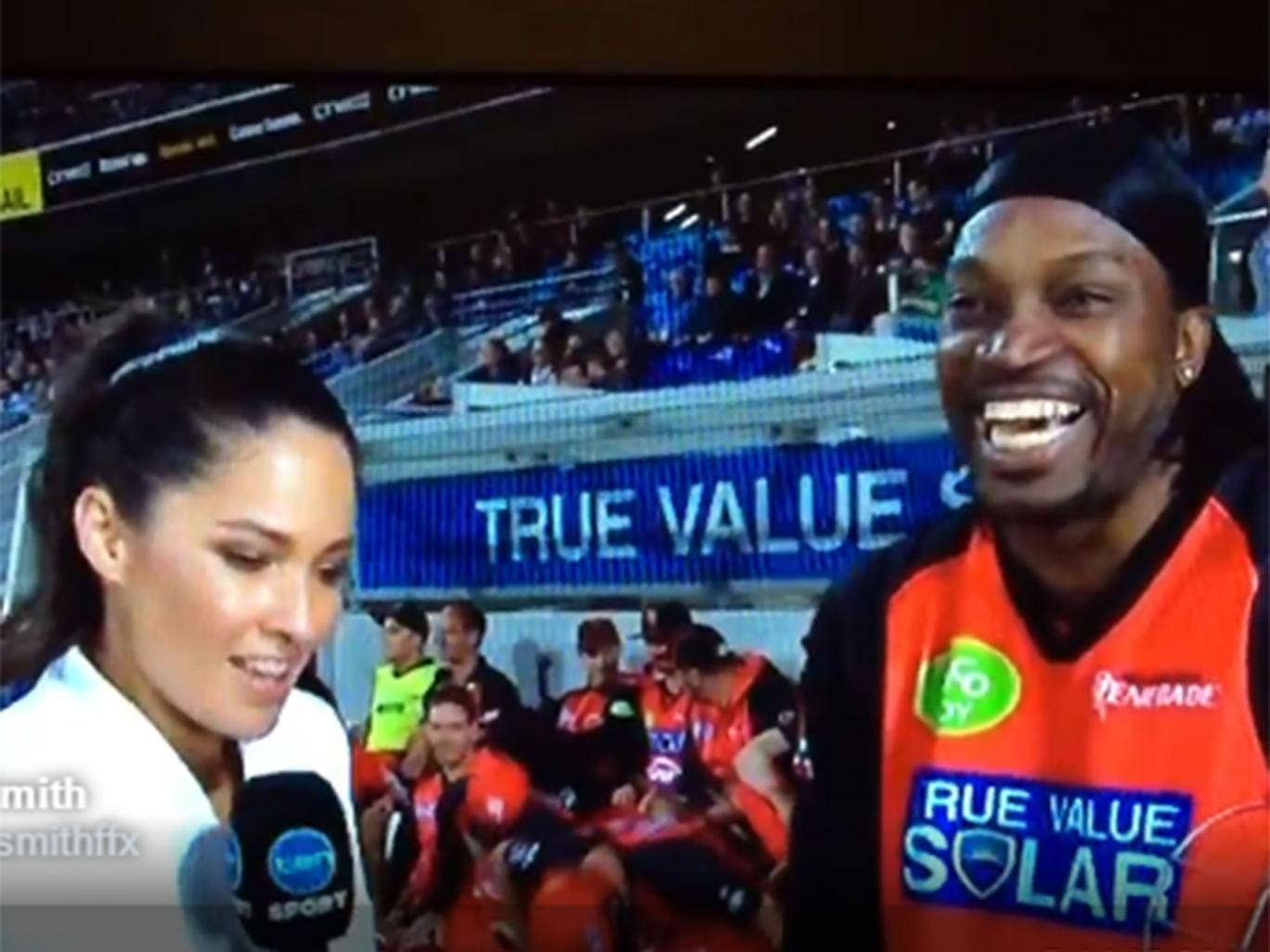 gayle interview flirting Chris gayle has been fined $7000 after asking ten network reporter mel mclaughlin out for a drink during a live interview.
