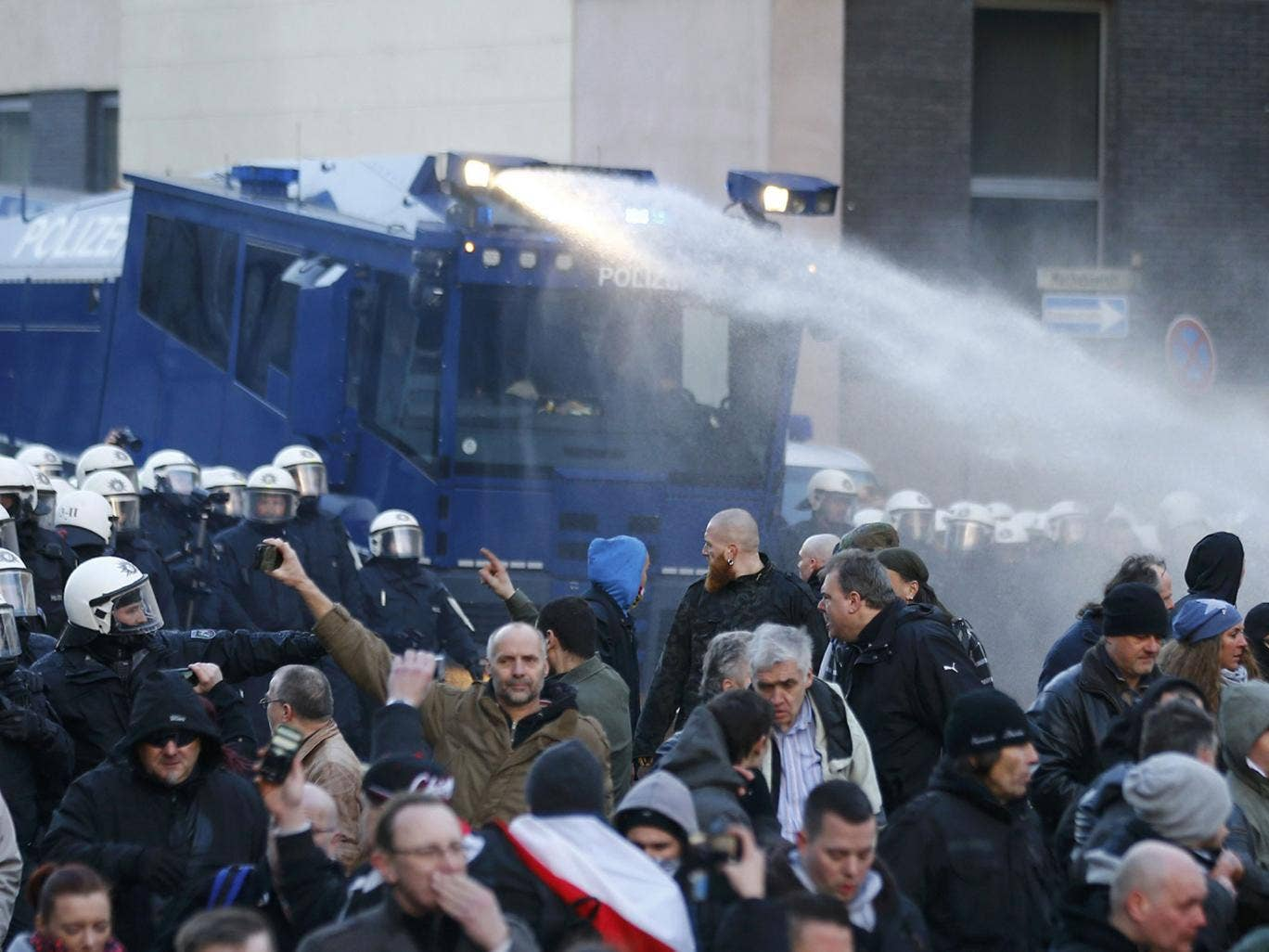Water Cannon Used to Disperse Demonstrators in Cologne