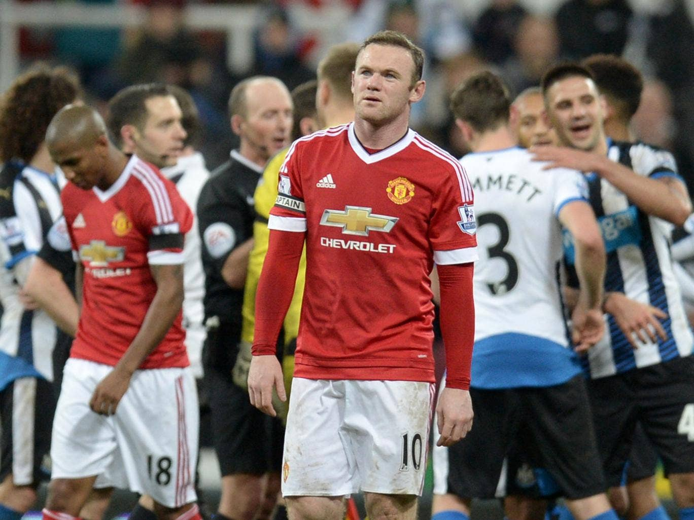 Manchester United striker Wayne Rooney looks on after his side drop two points