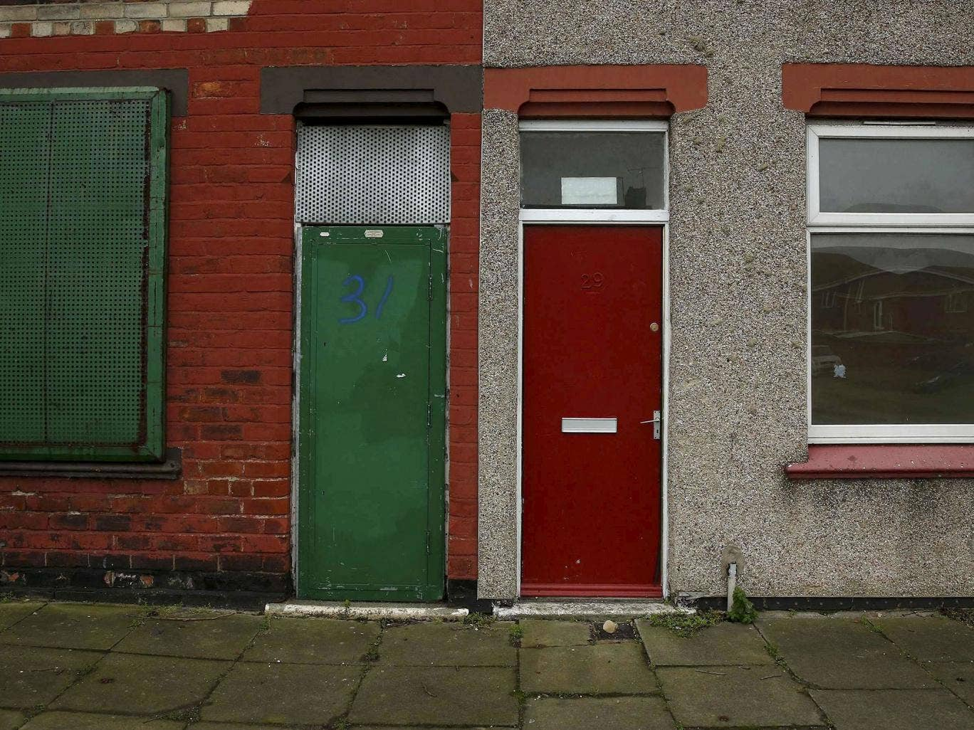 1026 #64261A Red Doors Of Asylum Seeker Housing In Middlesbrough Repainted 'range  wallpaper Red Front Doors For Homes 41151368