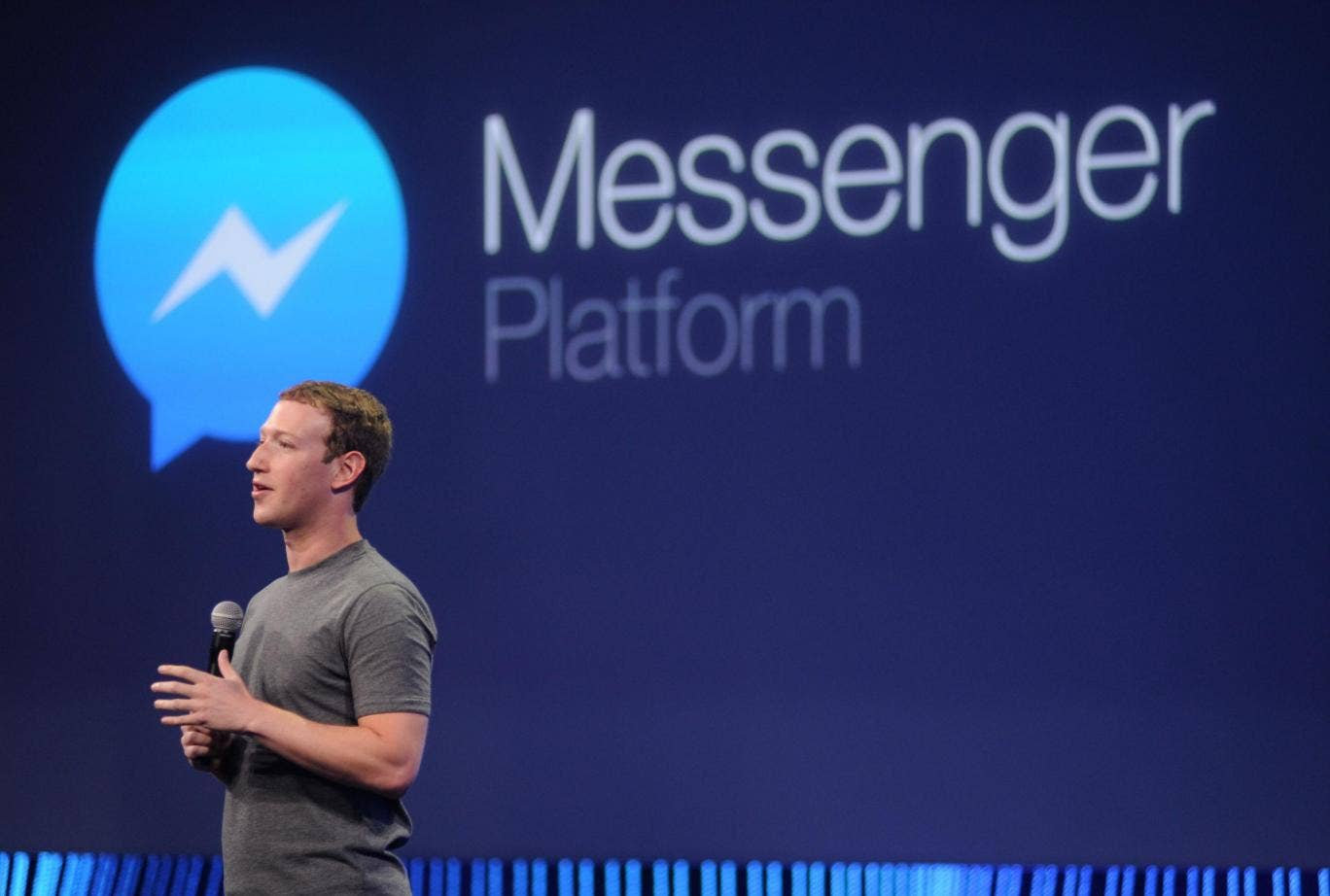Mark Zuckerberg speaks about Messenger at a 2015 summit