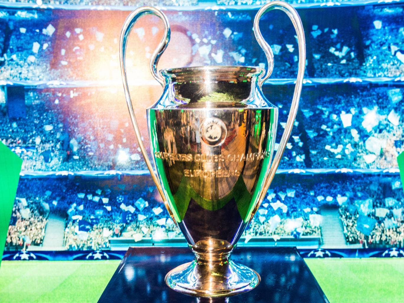 A view of the Champions League trophy Getty
