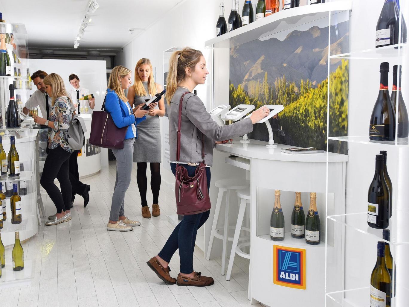 Aldi open up futuristic wine pop up in London
