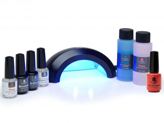 Red carpet manicure gel nail set with led lamp